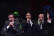 "Watch Michael Stipe, Stephen Colbert, & James Franco Sing A 2016 Version Of ""It's The End Of The World As We Know It"""