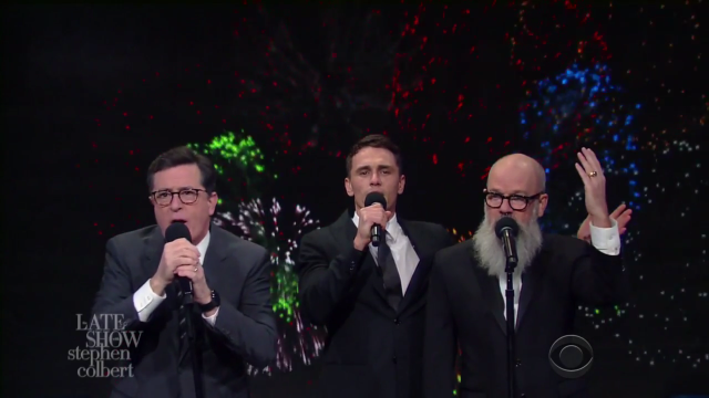 Watch Michael Stipe, Stephen Colbert, & James Franco Sing A 2016 Version Of