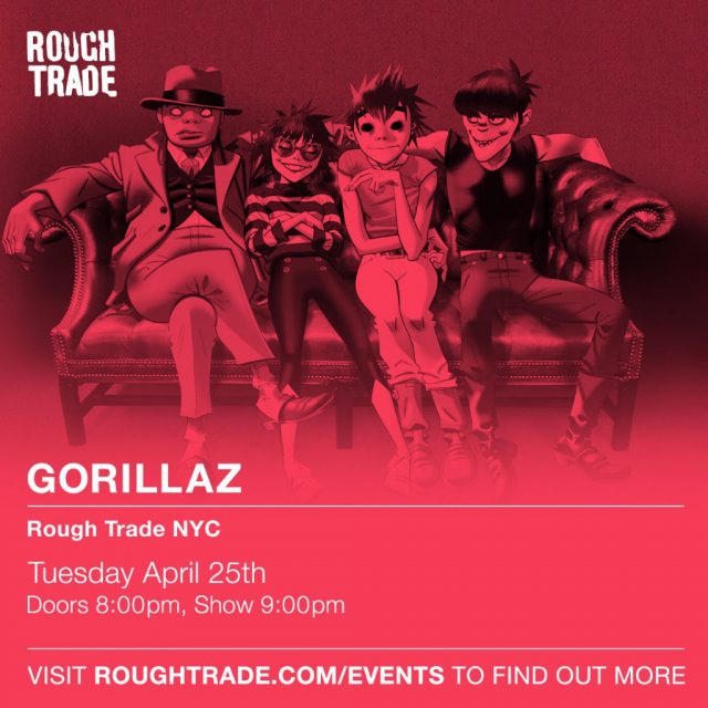 Gorillaz Playing Rough Trade NYC Next Week