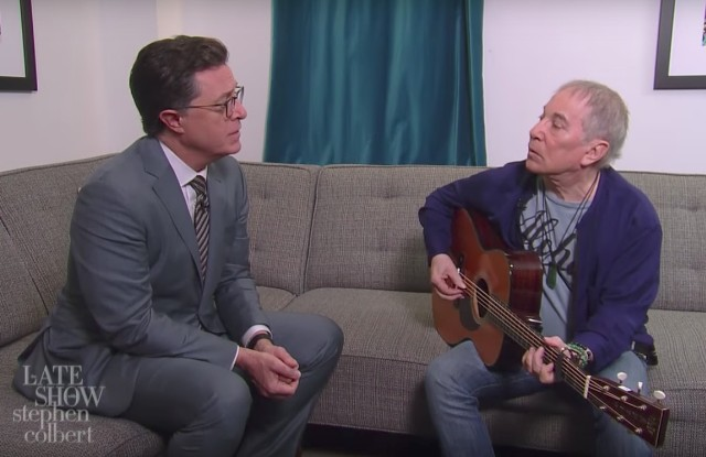 Paul Simon and Stephen Colbert Update 'Feelin' Groovy' for Scary 2017