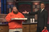 Watch Action Bronson Eat Ziti Pizza With Seth Meyers