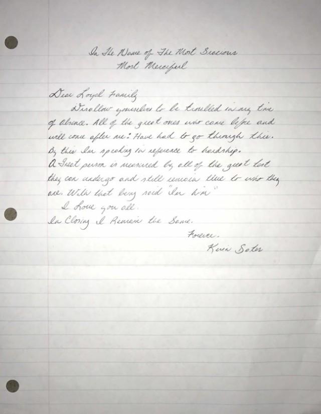 Kevin Gates Letter