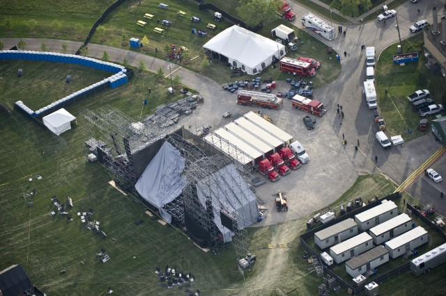 An aerial view shows a collapsed stage in Toronto's Downsview Park, which killed one person and sent