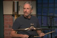 Watch Jon Stewart Debut On Drums On <em>Seth Meyers</em>
