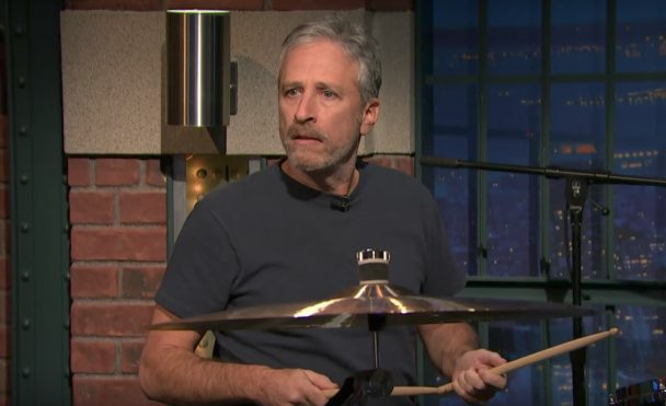 Watch Jon Stewart Debut On Drums On Seth Meyers - Stereogum