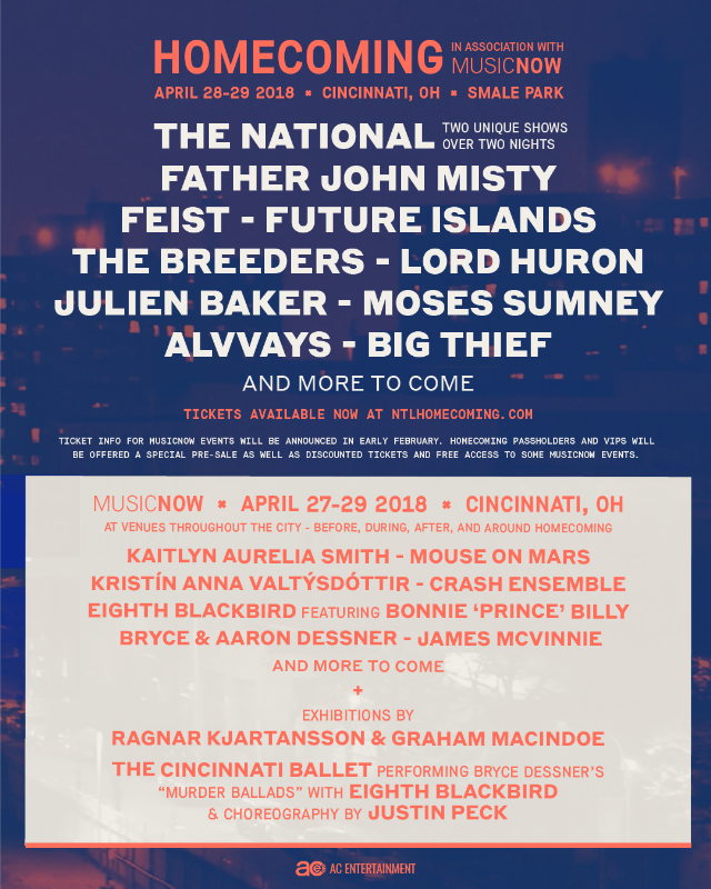 The National's Inaugural Homecoming Music Festival Has A Killer Lineup