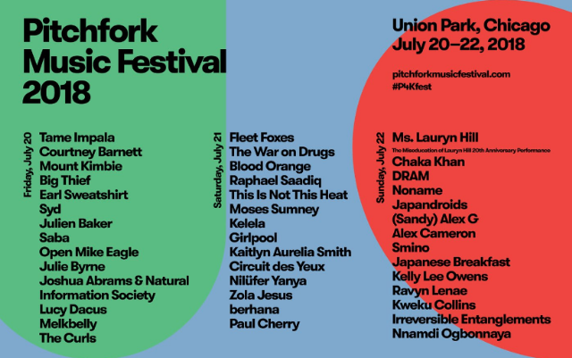 Image result for pitchfork music festival 2018 lineup