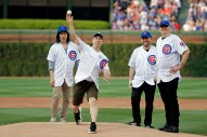 Smashing Pumpkins Throw Out The First Pitch At The Cubs Game