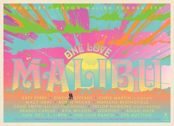 Katy Perry, Gwen Stefani, Chris Martin Play One Love Malibu Fire Relief Fest