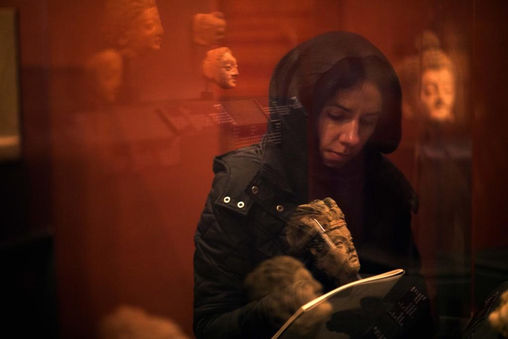 PJ Harvey working in the National Museum, Kabul. Afghanistan.