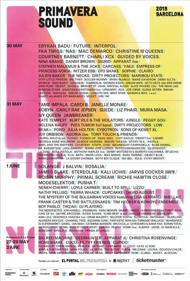Primavera Sound 2019 Lineup Erykah Badu Tame Impala Solange More Performing At Barcelona Fest