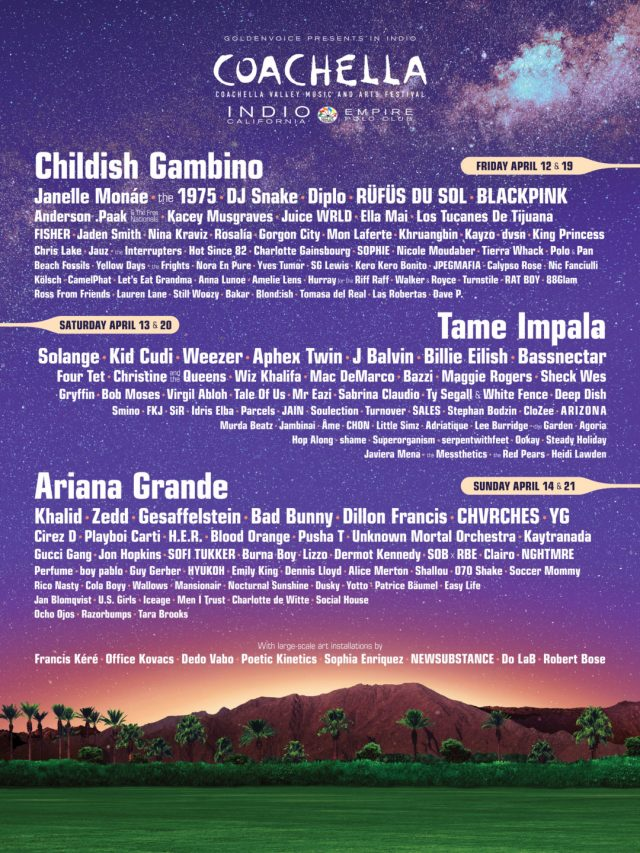 Coachella 2019 Lineup Features Headliners Ariana Grande, Childish