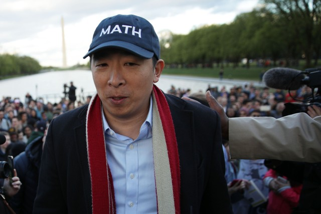 Presidential Candidate Andrew Yang Holds A Campaign Rally At The Lincoln Memorial