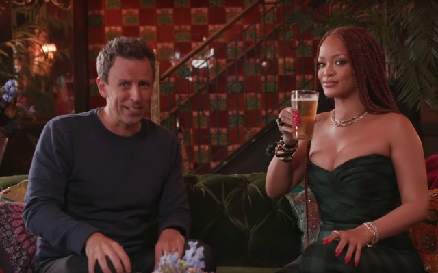 Rihanna gets super day drunk with Seth Meyers