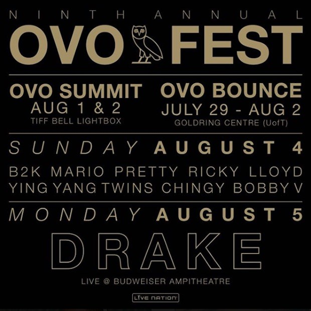 Drake Announces 9th Annual OVO Fest Lineup