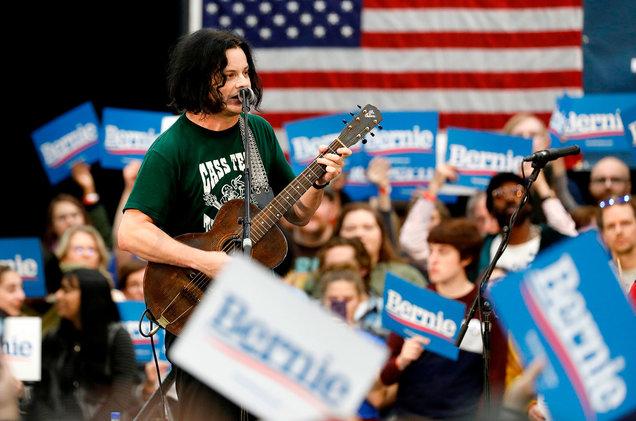 Jack White performs at Bernie Sanders rally