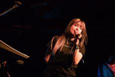 Sarah Bonito seen singing as British indie rock band Kero