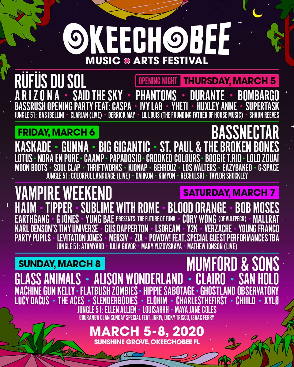 Okeechobee Festival 2020.Okeechobee 2020 Lineup Includes Vampire Weekend Mumford
