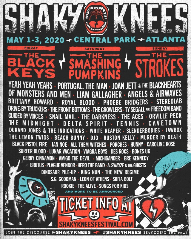 Smashing Pumpkins Tour Dates 2020.Shaky Knees Lineup 2020 Black Keys Smashing Pumpkins