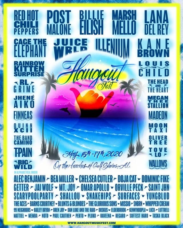 Shrimp Festival Gulf Shores 2020.Hangout 2020 Lineup Billie Eilish Post Malone Rhcp Lana