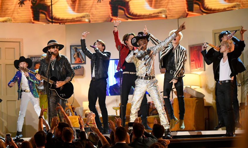 """Grammys 2020: Lil Nas X, BTS, Nas, Billy Ray Cyrus, & Diplo Team Up As """"Old Town Road All-Stars"""""""