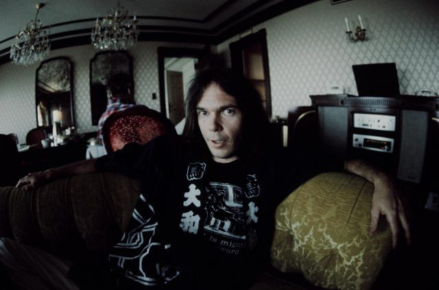Neil Young In Happi-Coat Relaxing At A Hotel