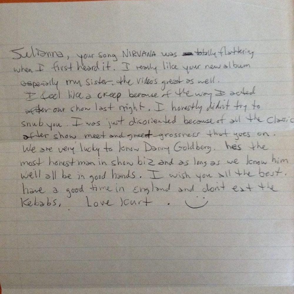 Juliana Hatfield Letter From Kurt Cobain