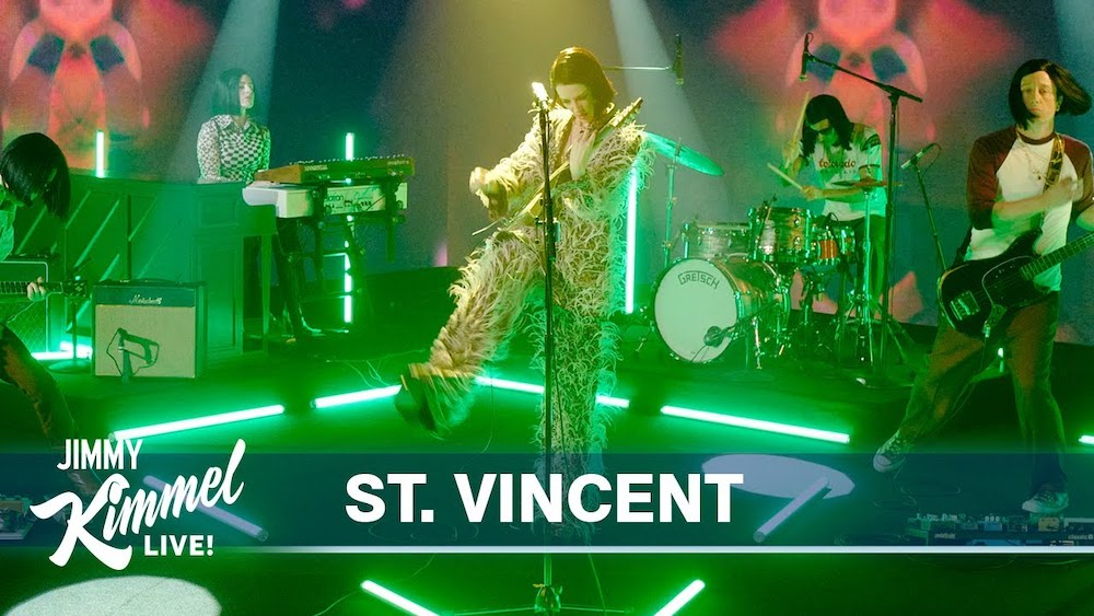 """Watch St. Vincent Perform A Theatrical Version Of """"The Nowhere Inn"""" On Kimmel"""