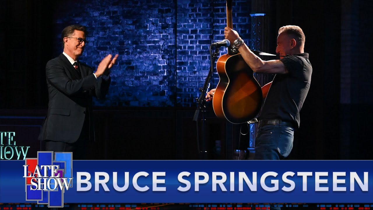 """Watch Bruce Springsteen Play """"The River,"""" Talk About Being Friends With Obama, & Show Off His Born To Run Guitar On Colbert"""