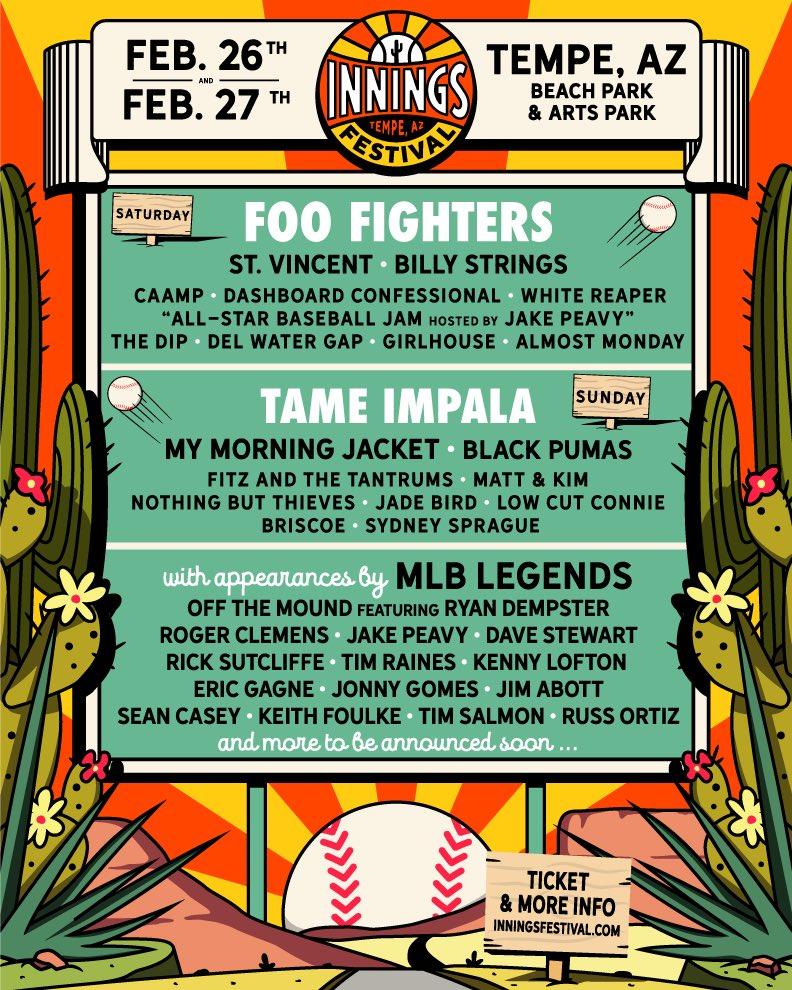 Baseball-Themed Innings Festival Announces Tame Impala, Foo Fighters, Roger Clemens